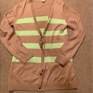 Gap Cardigan Tan with Green Stripes